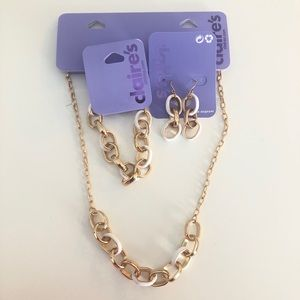 Claire's Gold Enamel Chain Link Statement Jewelry
